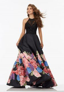 Floral Printed A-line Satin Skirt and Beaded Halter Bodice Gowns from Mori Lee 99067