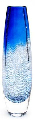 """Glass """"Kraka"""" vase, with combed blue decoration and enclosed air bubbles, design Sven Palmqvist ca.1955, executed by Orrefors / Sweden"""