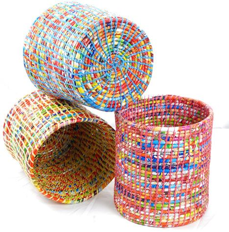 Wastepaper Baskets are made from cast-off plastic wrappers (and presumably plastic bags) by artisans in Nepal.