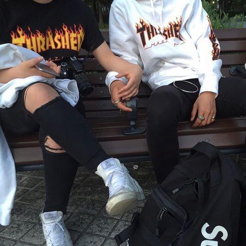 couple, grunge, and thrasher image