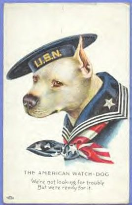 """World War One poster, i believe this is a """"vicious"""" American pit bull terrier. He kooks pretty patriotic to me."""