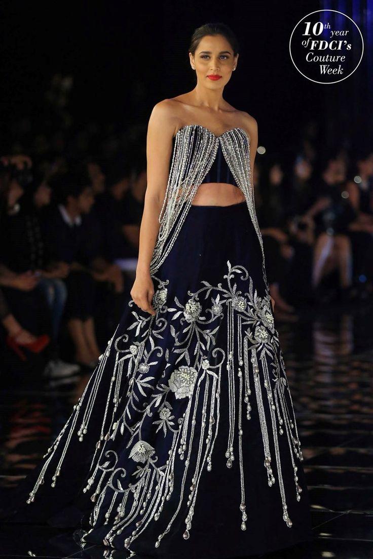 Black and silver gota embroidered wedding lehenga | Manish Malhotra Couture Week Fashion | Indian bridal inspiration