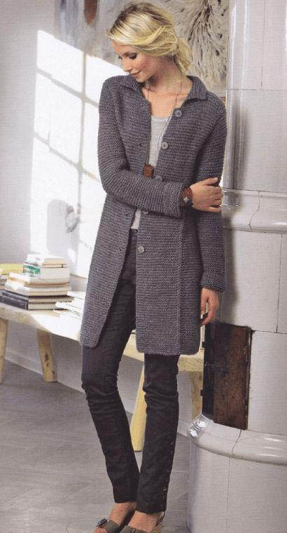 Вязаное пальто спицами от Lene Holme. Описание. схема