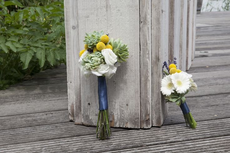 Wedding bouquet succulent and craspedia, Flowergirl bouquet