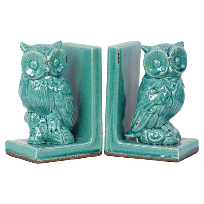 {Turquoise Owl Bookends} made of stoneware - love these hoots!
