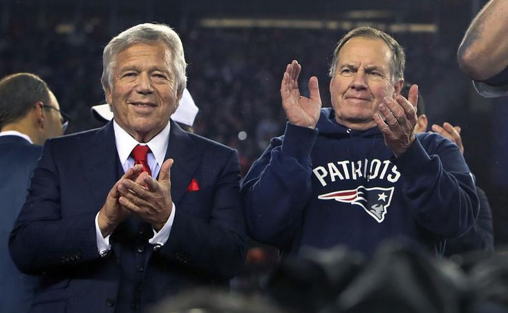 Foxborough, MA 1-22-17: New England Patriots owner Robert Kraft (left) and head coach Bill Belichick (right) are pictured during the post game victory celebration. The New England Patriots hosted the Pittsburg Steelers in the National Football League AFC Championship Game at Gillette Stadium. (Globe Staff Photo/Jim Davis) reporter: mcbride topic: Patriots-Steelers