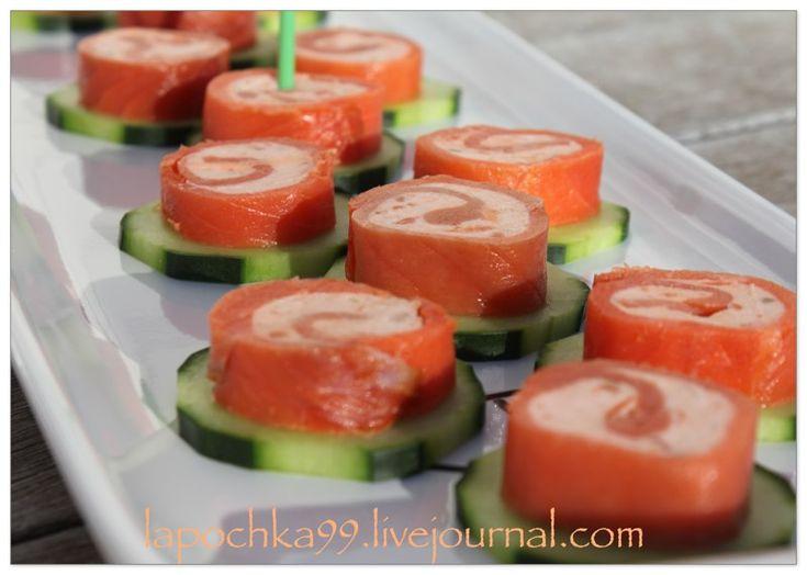 Рулетики из красной рыбы со сливочным сыром