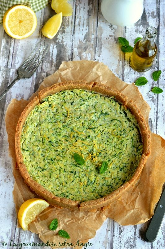 quiche vegan courgette citron menthe 2