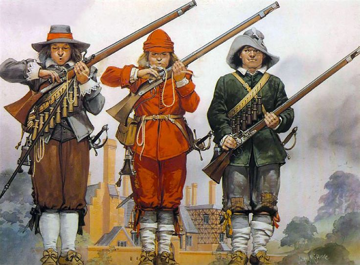 """Training - Royalist musketeers"" • Musketeer, Royal Army, 1642 • Musketeer, King's Oxford Army, 1643 • 'Firelock', Capt. Sanford's Firelocks, 1643"