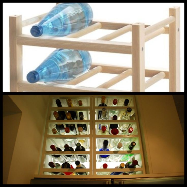 insert a ikea hutton wine rack into a cabinet to store. Black Bedroom Furniture Sets. Home Design Ideas