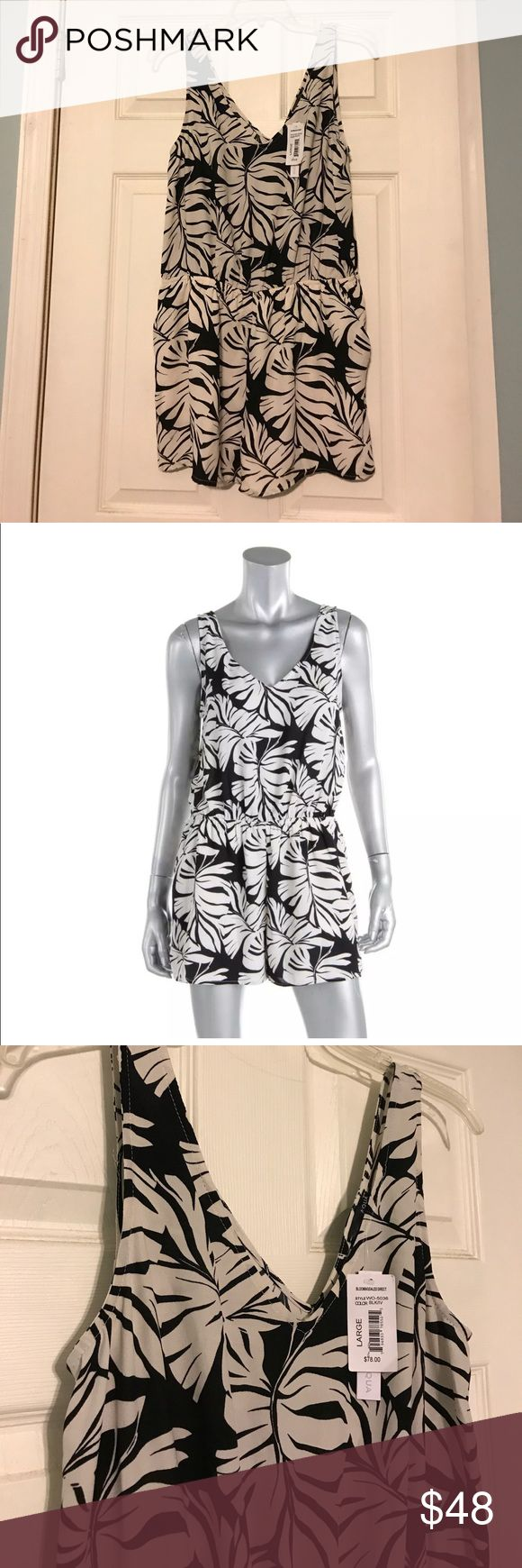 Aqua Palm Print Romper Super fun for Summer! Black and ivory palm print. 100% polyester. Best fits up to size 10. Aqua Pants Jumpsuits & Rompers