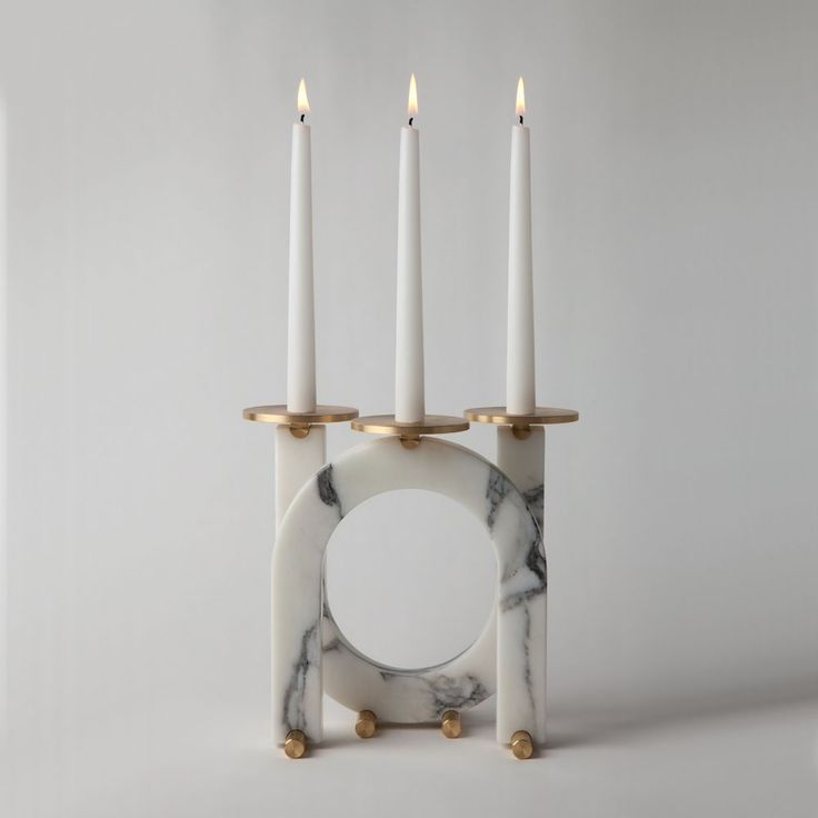 Marble Two Arm Candleholder | From a unique collection of antique and modern candle holders at https://www.1stdibs.com/furniture/decorative-objects/candle-holders/