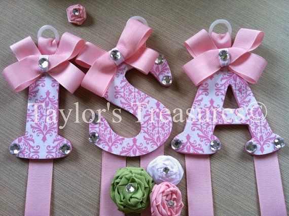 Taylors Treasures  - Hair Bow Holder - Patterned Letter  - Nursery Letters - Hanging Wall Letter