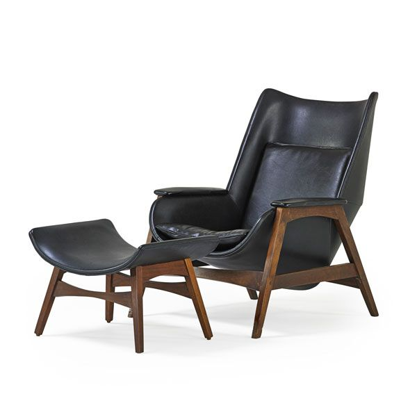 "EDWARD WORMLEY (1907 - 1995) DUNBAR Lounge chair and ottoman, Berne, IN, 1950s Walnut, vinyl Unmarked Chair: 36 1/2"" x 29"" x 36"", ottoman: 1..."