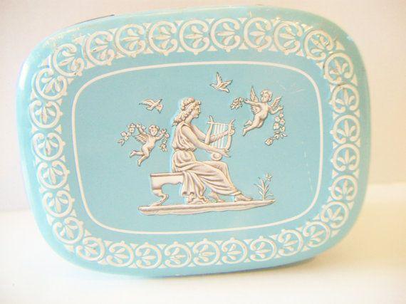 Vintage blauwe Wedgwood Tin Container Griekse godin engeltjes