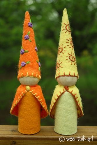 Embroidered gnomes  Website with lots of free patterns and links to supplies.  Several sizes and an Owl.