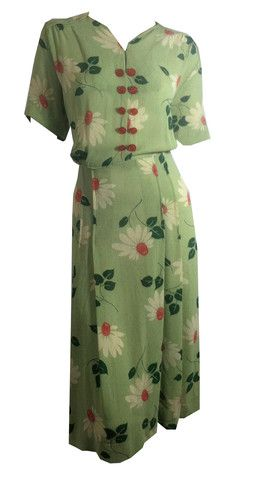 RESERVED Seafoam Green Boucle Dress w/ Bright Red and White Flowers circa 1940s