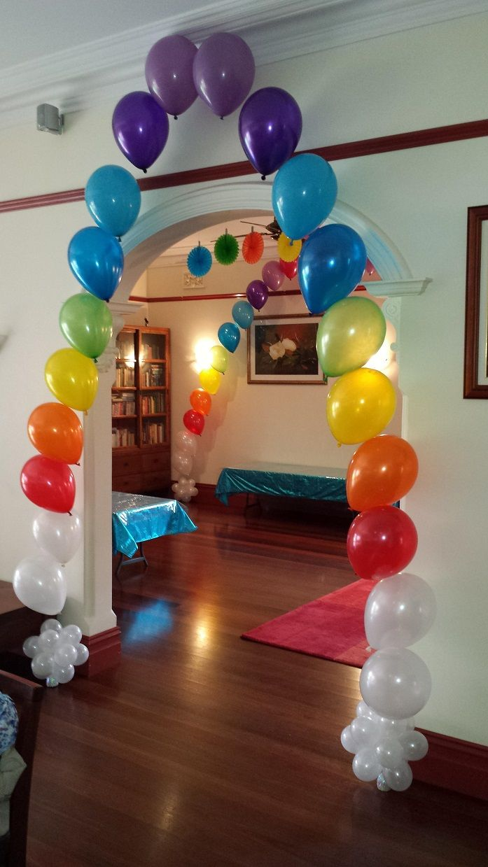 Balloon bouquet delivery balloon decorating 866 340 - Rainbow String Of Pearls With Pearl White Topiary Weights Balloon Bouquetballoon Archballoonsrainbow Birthday4th Birthdaystring