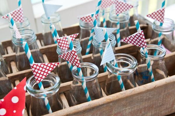 Super cute drink bottles and drink idea at this Memorial Day / Barbecue Party.  Via Kara's Party Ideas Kara'sPartyIdeas.com. #drinks #bottles #party #ideas