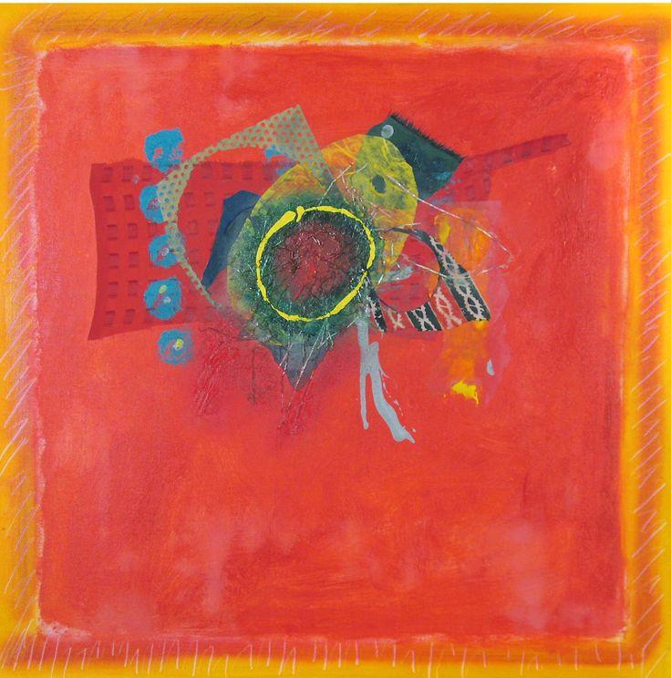 "Mardi Gras, acrylic & fabric on canvas, 30"" x 30"", $7,500, http://transformgallery.com/wayne-ensrud/"