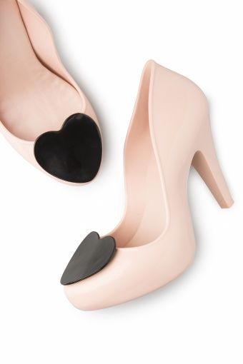 60s Heart Fever Raspberry Pumps in Powder Pink and Black. Mel ShoesPowder  ...