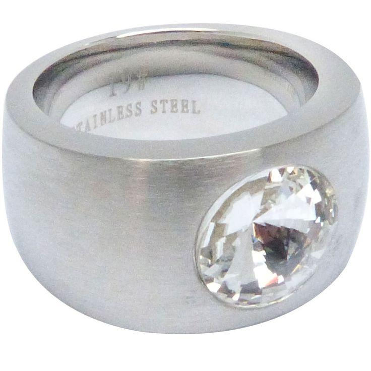 Ring silber Solitär Edelstahl mit weißem Stein Zirkonia Swarovski Damen 14mm