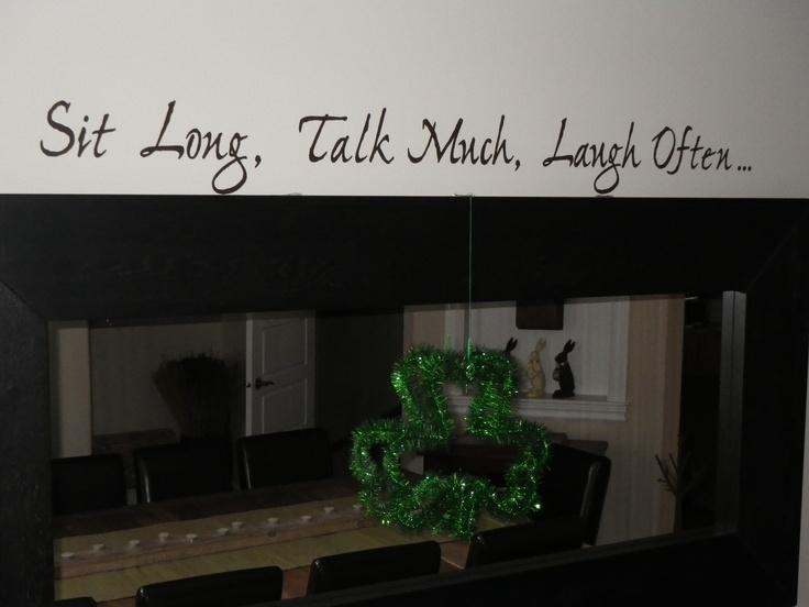 in dining room wall talk.