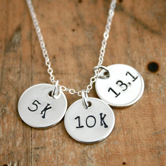 I aspire to this                                                Sterling Silver 5k 10k 13.1 half marathon necklace  by JustJaynes, $39.00