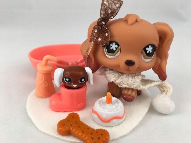 Littlest Pet Shop RARE Tan Cocker Spanie #716 w/Matching Teensie & Accessories #Hasbro