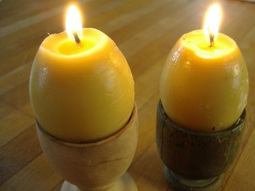 BEES WAX CANDLES...of course you could use regular wax also and color it... INSTRUCTIONS HERE: http://thelivingwiccan.tumblr.com/post/45872429280/egg-candles
