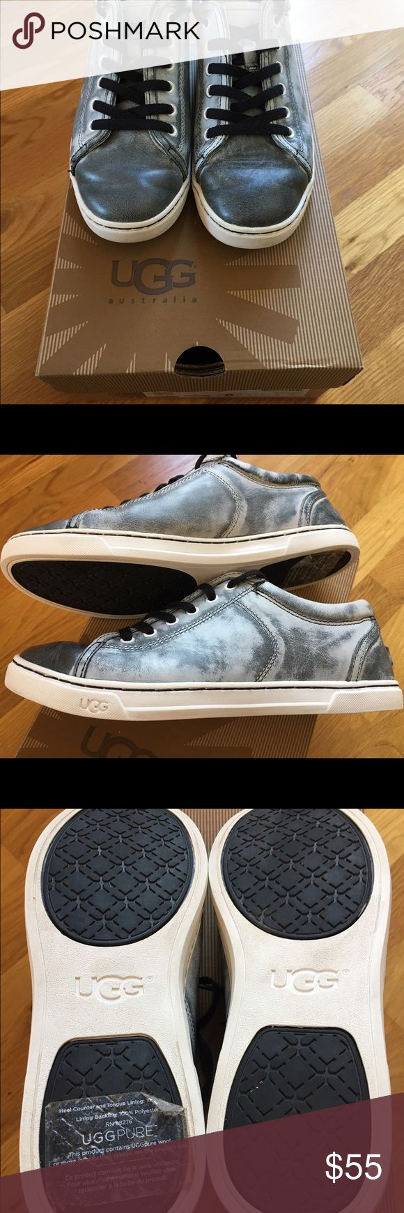 Excellent Used Condition Size 8 UGG sneakers Gently Owned UGG Tomi Leather Black Distressed Sneakers size 8.  UGG PURE contains pure wool inside. Heel Counter and Tongue Lining 100% Pure Wool. Lining Backing 100% Polyester RN 88276 Super Comfortable UGG Shoes Sneakers