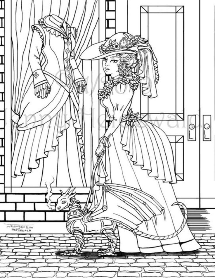 victorian steampunk coloring pages - photo#3