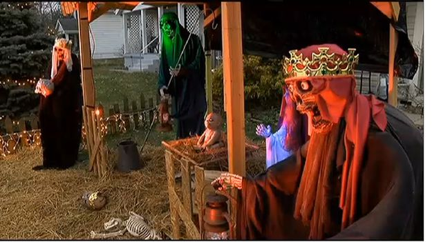 Officials in Ohio have ordered a Cincinnati man to take down a zombie-themed nativity scene from his front yard.   Ohio Man Ordered To Kill His Zombie Nativity Scene