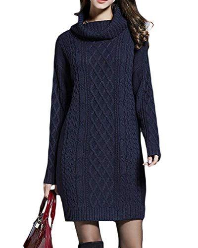 a7d73c54cb0e Pullover Lunga Doona Elegante Autunno Invernali Manica Lunga A Collo Alto  Vestiti In Maglia Hot Vestito