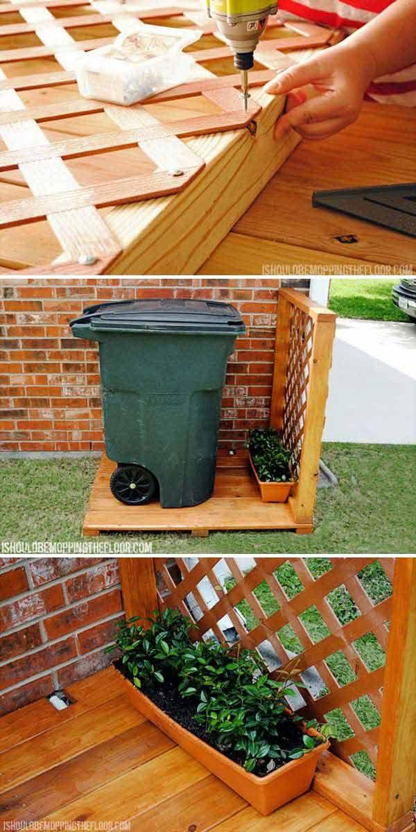 Create Hidden Garbage Can Storage Area Behind Lattice In Your Side Yard.