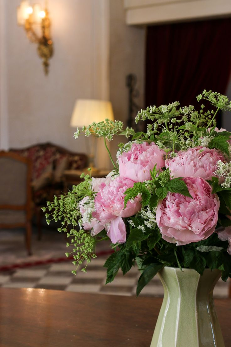 Beautiful peonies in the lobby of Hotel Regina, a five-star luxury hotel in Paris. We loved our stay here.