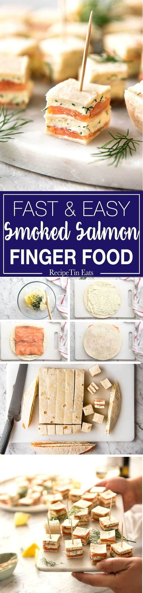 Smoked Salmon Appetizer fantastic for gatherings - no fiddly assembly, served at room temperature, looks elegant and tastes SO GOOD! www.recipetineats...