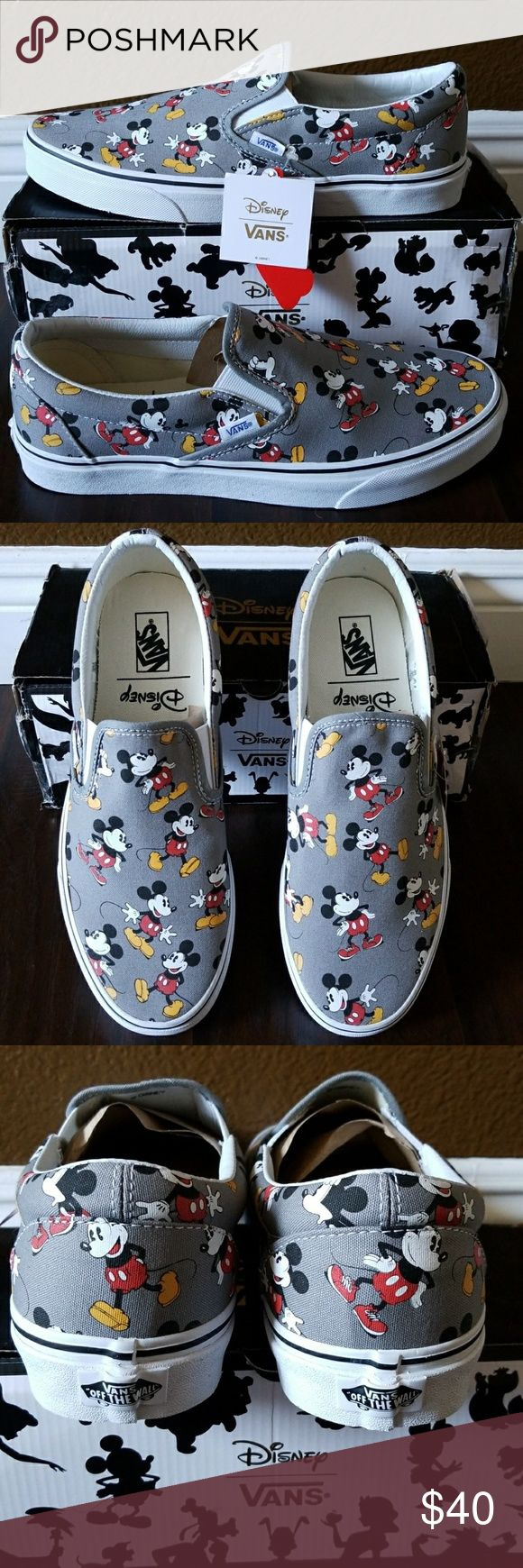 Vans Classic Vans Classic Slip-On (Disney) Mickeymouse/Frstgy  Men's Size: 11.0 *New With Box (Box isn't in perfect condition, had to tape it to keep it together) Vans Shoes Sneakers