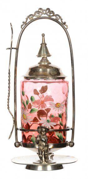 """PICKLE CASTOR - 11"""" - CRANBERRY COINSPOT ART GLASS"""