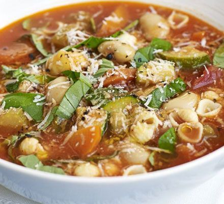 Italian vegetable soup with garlic, butter beans, pasta, and parmesan ...