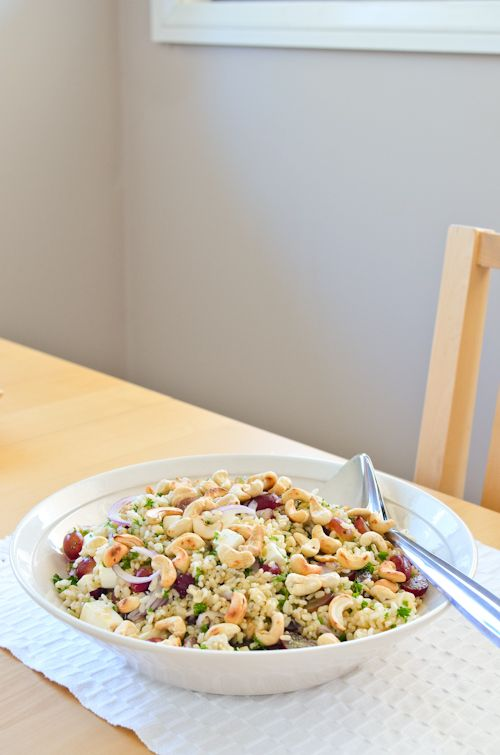 Brown Rice, Grape and Feta Salad with Cashews