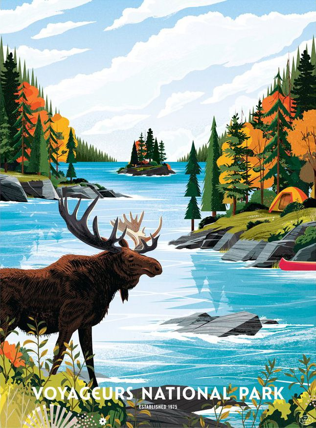 Voyageurs National Park poster, an illustrated