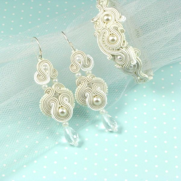 Soutache bridal set with pebbles and Swarovski crystals...