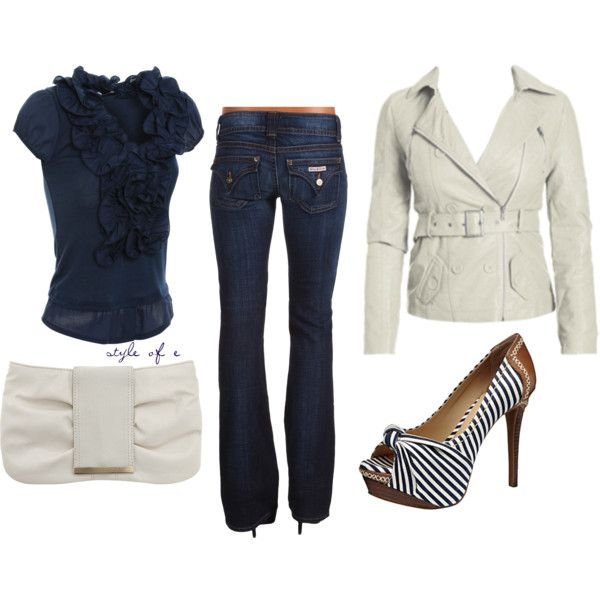 Cute shoes!: A Mini-Saia Jeans, Navy And White, Blouses, Casual Friday, Colleges Wardrobes, Cute Outfits, The Navy, Blue And White, My Style