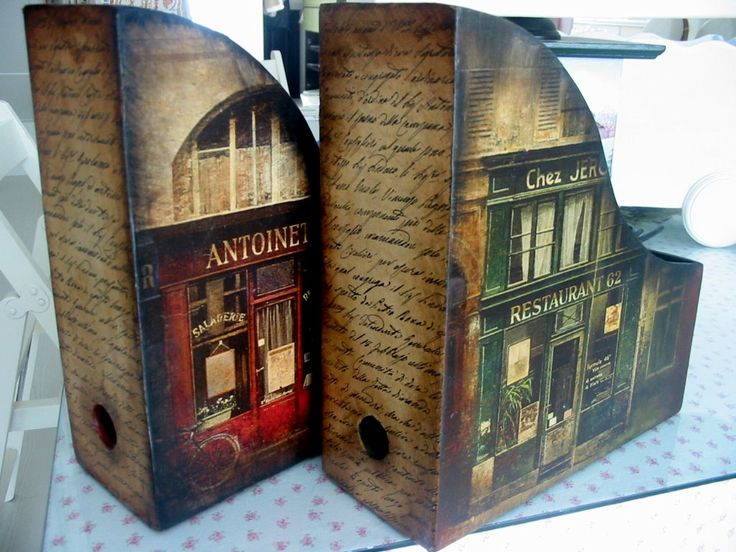 decoupaged magazine holders