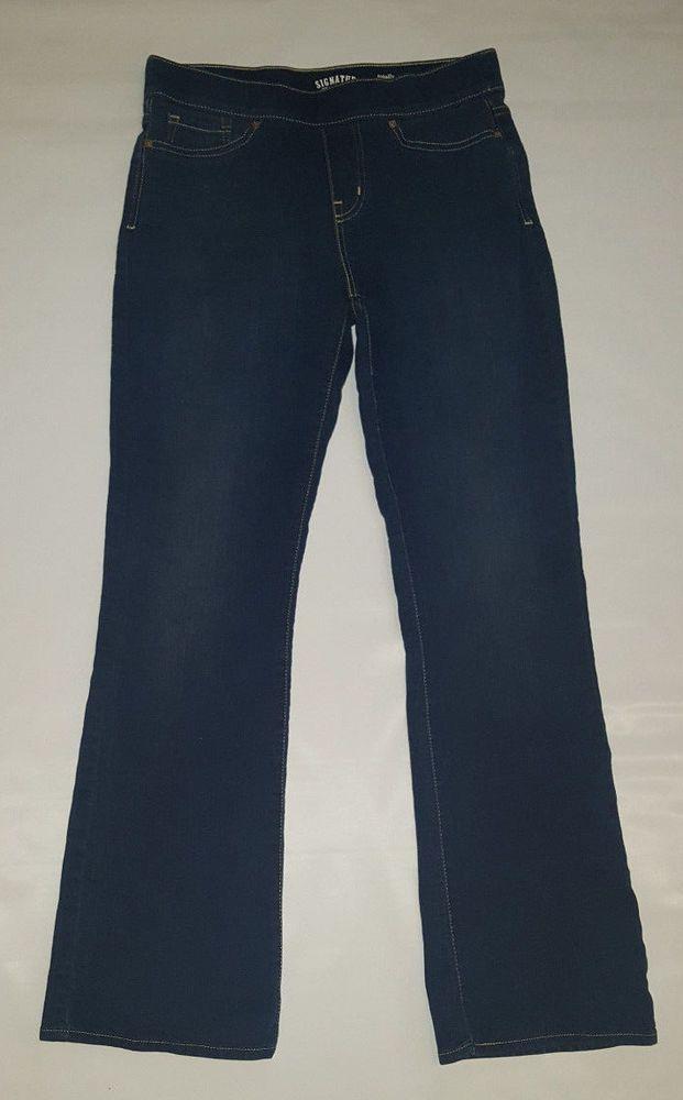 Levi Strauss Sz 8 Women's Totally Shaping Pull-On Boot Cut Dark Wash Jeans #SignatureLeviStraussCo #BootCut
