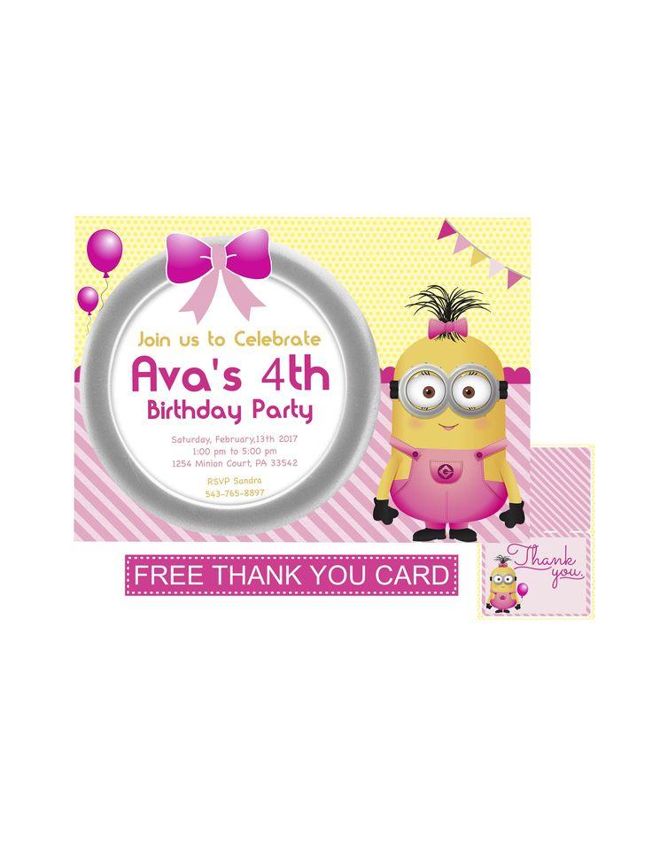 Girl Minion Invitation | Minion Girl Invitation | Minions Invitation | Minion Girl | Minion Girl Party | Minion Girl | Minions for Girls by KidsInvitesDreams on Etsy