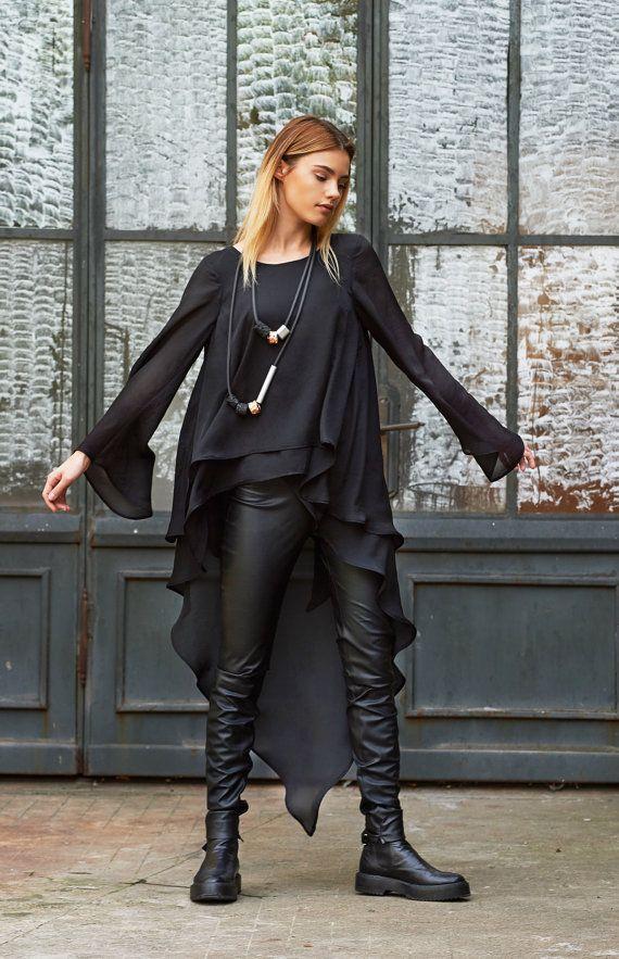 Vestido de túnica negra túnica suelta Top gótico Avant