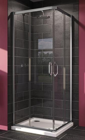 X1 Душевая кабина 90*90, раздвижная дверь, вход с угла, Н=1,9м, профиль хром глянцевый, стекло прозрачное 6мм