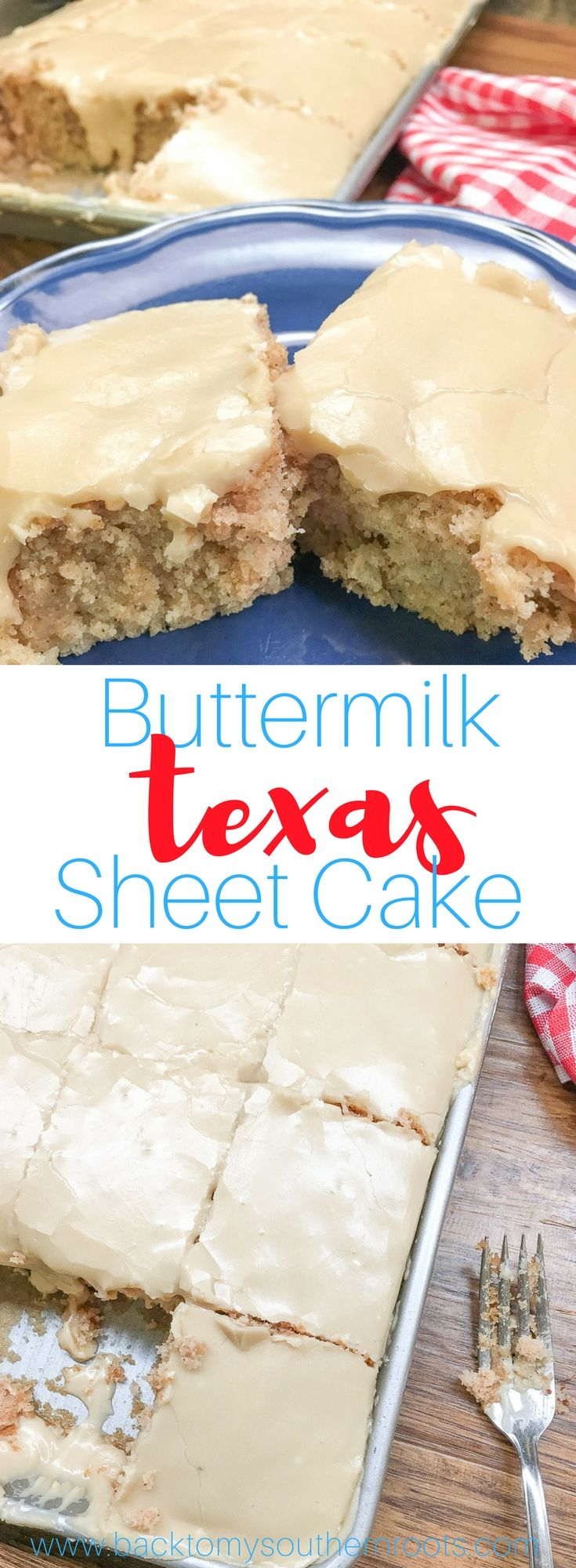 Buttermilk Texas Sheet Cake with vanilla is a delicious dessert to make for a birthday party, church potluck, or any holiday. The rich frosting is perfect with the cinnamon and vanilla flavoring. You are going to love this recipe. #buttermilk #texassheetcake #sheetcake #vanilla #dessert #desserts #cake